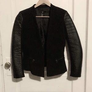 H&M | Black blazer with pleather sleeves